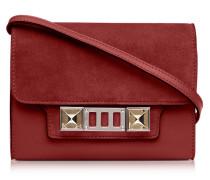 PS11 Red Plum Brieftasche mit Schulterriemen aus Leder und Nubuck