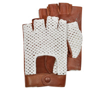 Herren-Handschuhe aus braunem Leder und Baumwolle