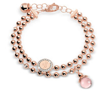 Boulevard Stone Rose Gold Over Bronze Double Beadball Chain Bracelet w/Hydrothermal Pink Stone