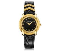 DV25 Damenuhr in schwarz und gold mit krokogeprägtem Armband