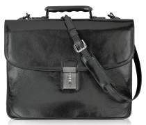 Klassische Aktentasche aus schwarzem Leder