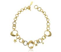 Circus Halskette aus vergoldetem Metall mit Kristallen