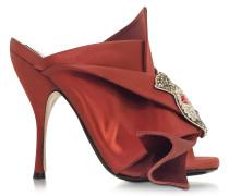 High Heel-Sandalette aus Satin mit Kristall-Katze