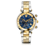 Revive Chrono Stainless Steel and PVD Gold Plated Women's Watch w/Blue Dial