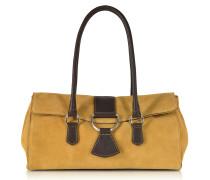 Handtasche aus Leder und Wildleder in camelfarben