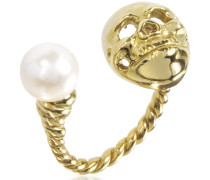 Ring Skull mit Perle in Bronze