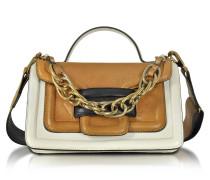 Alpha Plus Colorblock Leather Satchel Bag