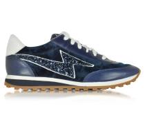 Jogger Astor Sneaker aus Leder und Samt in navyblau mit Glitzer
