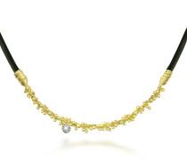Flirt - Halskette aus 18k Gelbgold und Kautschuk mit Diamant
