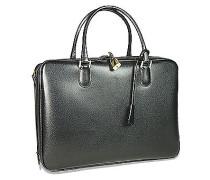 Schwarze Aktentasche aus Leder mit Echsenprägung