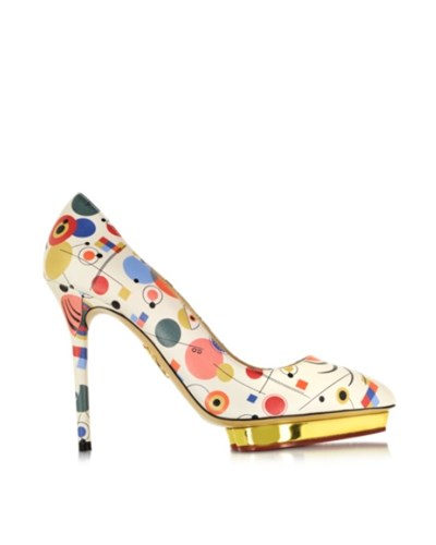 charlotte olympia damen debbie kandinsky plateaupumps aus bedrucktem nappaleder 50 reduziert. Black Bedroom Furniture Sets. Home Design Ideas