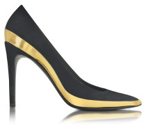 Sasha Black Suede and Gold Metallic Leather High Heel Pump