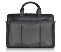 Web File 2 Black Leather and Nylon Men's Briefcase