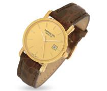 Armbanduhr aus 18k Gold mit krokogeprägtem Armband in braun