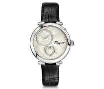 Cuore Ferragamo Damenuhr aus Edelstahl mit Nieten und Herz an krokogeprägtem Armband in schwarz