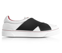 White Leather Slip on Sneaker w/Elastic Band
