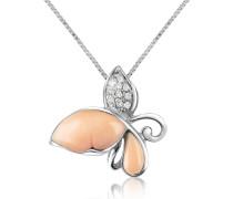 Halskette aus 18k Gold mit Schmetterlingsanhänger und Diamant
