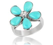 Ring aus 18k Gold mit türkisfarbener Blume und Diamant