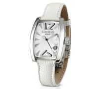 Panorama Armbanduhr aus weissem Perlmutt und Edelstahl