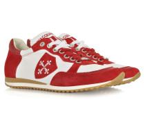 Pisa Sneaker aus Leder und Wildleder in weiß und rot