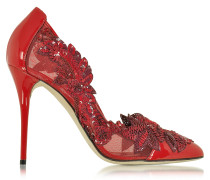 Alyssa Poppy Red Mesh and Patent Leather Pump