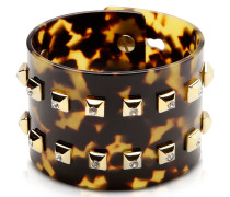 Resin and Brass Double Viti Large Bangle w/Crystals