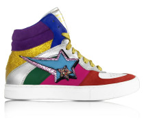 Rainbow High Top Sneaker aus Leder