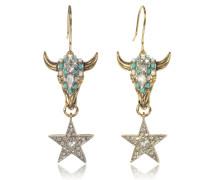 Ohrringe aus vergoldetem Brass mit Kristallen und Perlen in mintgrün