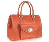 Umhängetasche aus grobem Leder in orange mit Frontfach