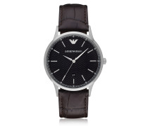 Black Dial Stainless Steel Men's Watch w/Leather Strap