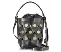 Black Leather Penny Bucket Bag  w/Golden Studs