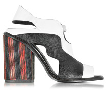 Color Block High Heel Sandale in schwarz& weiß