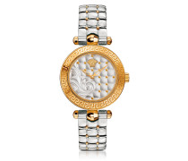 Micro Vanitas Stainless Steel and PVD Gold Plated Women's Watch w/Baroque Pattern Dial