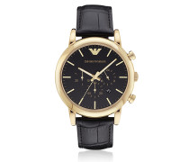 Goldtone Stainless Steel Men's Watch w/Black Dial