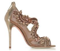 Ambria High Heel Sandale aus Metallicleder und Mesh mit Pailletten in bronze