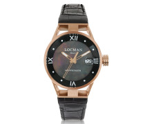 Montecristo Stainless Steel and Titanium Rose Gold PVD Women's Watch w/Croco Embossed Leather Strap