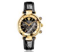 Revive Chrono Black and PVD Gold Plated Women's Watch w/Croco Embossed Band