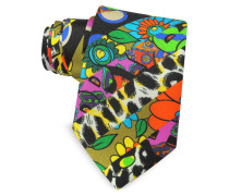 Multicolor Animal Print & Flowers Narrow Krawatte aus Twillseide