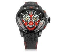 Spyder Chronographenuhr aus Edelstahl in schwarz mit rotem Zifferblatt