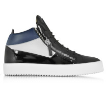 Kriss Mid-Top Black and Blue Leather Men's Sneaker