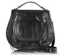Vanity Satteltasche aus schwarzem Leder
