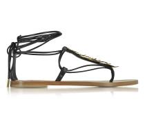 Flache Sandale aus Leder in schwarz