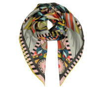 Multicolor Printed Silk Square Scarf
