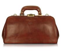 Handgearbeitete Doktor-Tasche aus echtem braunem Leder