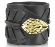 Serpent Armband aus schwarzem Leder mit goldenem Logo