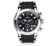 Bongo Chrono Herrenuhr aus versilbertem Edelstahl mit schwarze Armband