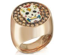 Totenkopf Ring aus rotvergoldetem Sterlingsilber mit Zirkoniasteinen
