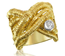 Capriccio - Crossover Ring aus 18k Gelbgold mit Diamanten