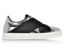 Slip-on Sneaker aus Leder in silber und schwarz