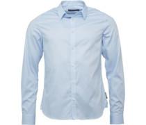 Herren Birdseye Hemd mit langem Arm Hellblau